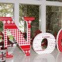 Red Patterned Wooden Noel Letters