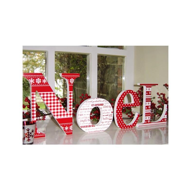 Red Patterned Wooden Noel Letters