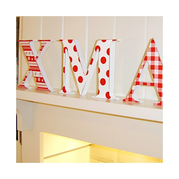 Red Patterned Wooden XMAS letters