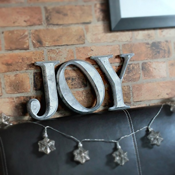 JOY wall letters, distressed silver