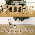 xmas Unpainted Wooden Christmas letters