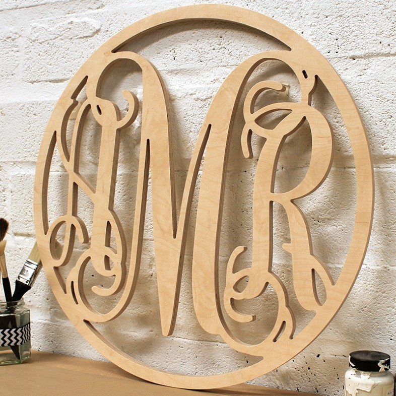 Triple Framed Monogram - Unpainted - The Wooden Letters Company