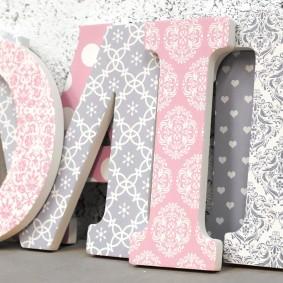 Pink + Grey Damask Patterned Letters