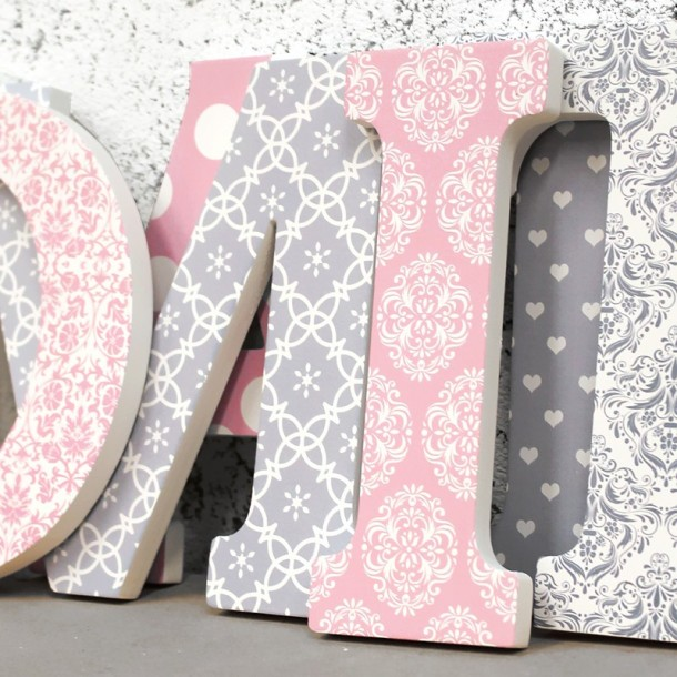 Pink + Grey Damask Patterned Letters