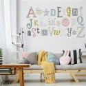 Pink, Grey, Duck Egg, Mustard Alphabet Wooden Wall Letters Full Set