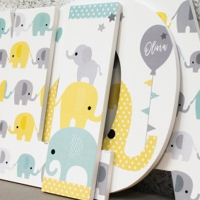 Lemon Turquoise + Grey Cute Elephant Letters