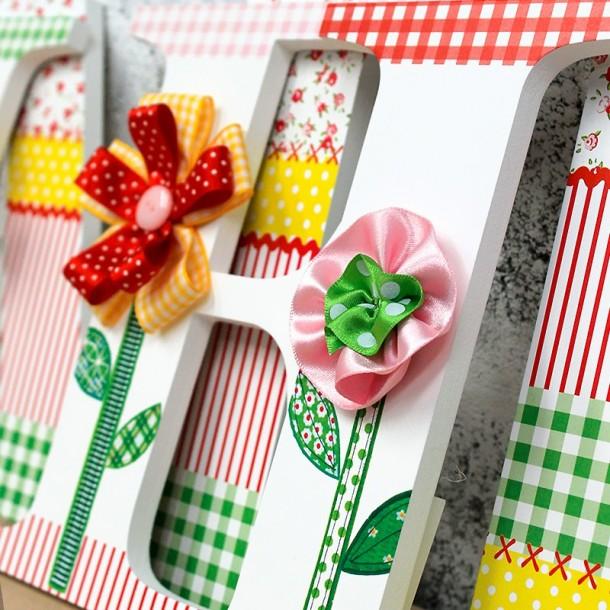 Ribbon Flower Wooden Wall Letters