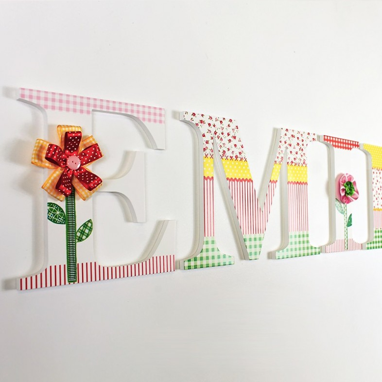 ribbon flower wooden wall letters With wooden wall letters with ribbon