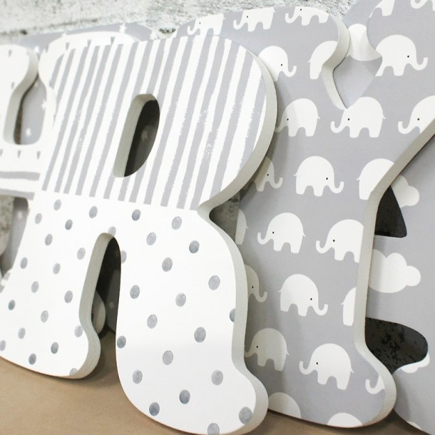 Cute Grey Nursery Letters