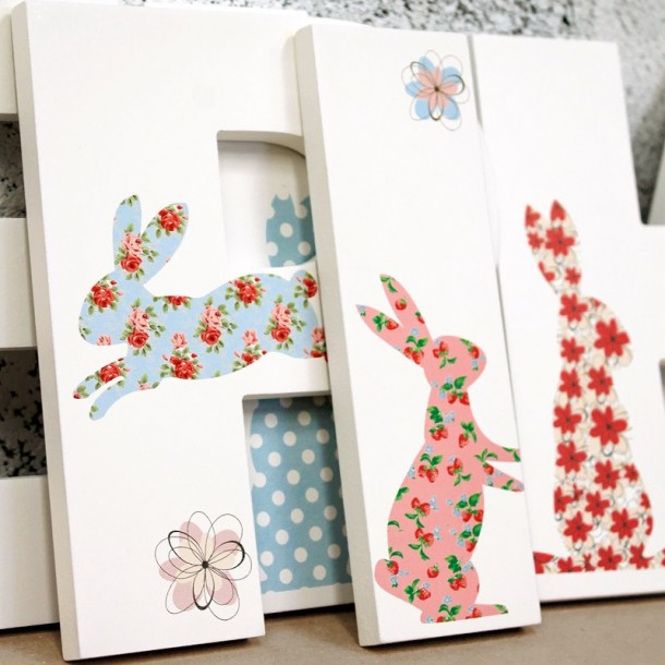 Floral Bunny Rabbit Letters