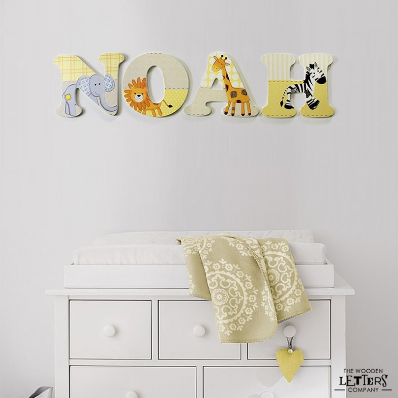Jungle Animals Wooden Nursery Wall Letters