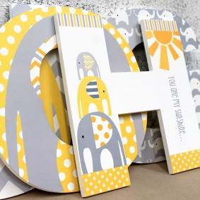 Yellow & Grey Elephant Letters