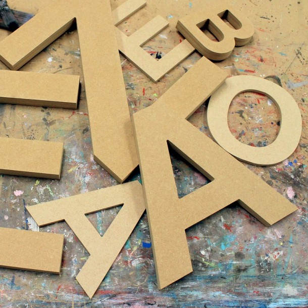 Arial Unpainted Mdf Wall Letters