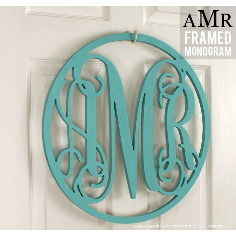 Triple Framed Monogram - Painted - The Wooden Letters Company