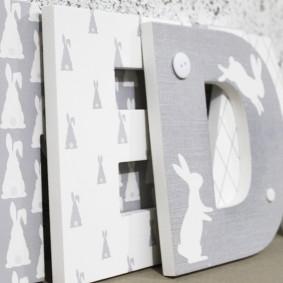 Grey Bunny Rabbit Letters