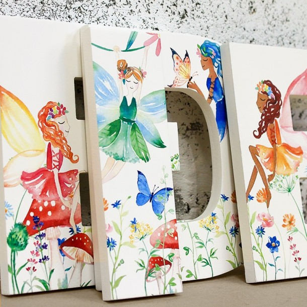 watercolour flower fairy letters