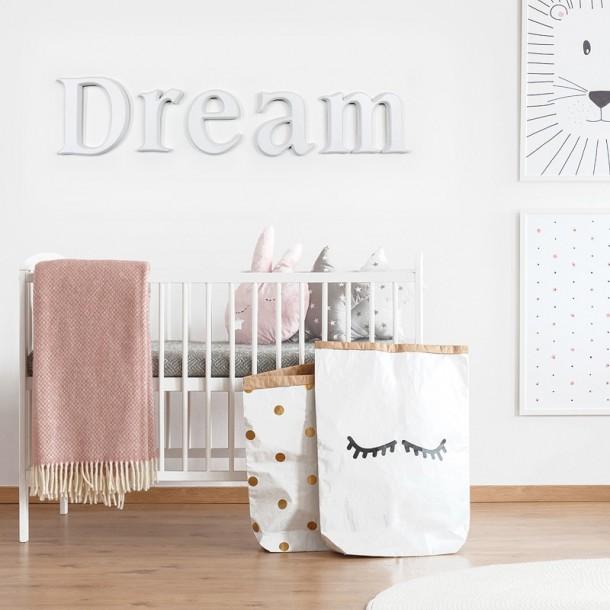 White DREAM letters wall modern