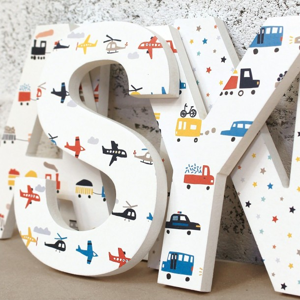 Planes Trains Vehicles Wooden Letters
