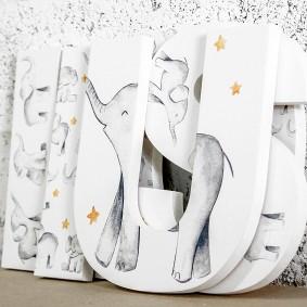 Watercolour Baby Elephants Letters