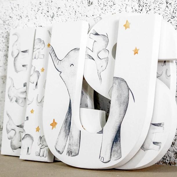watercolour grey elephants letters