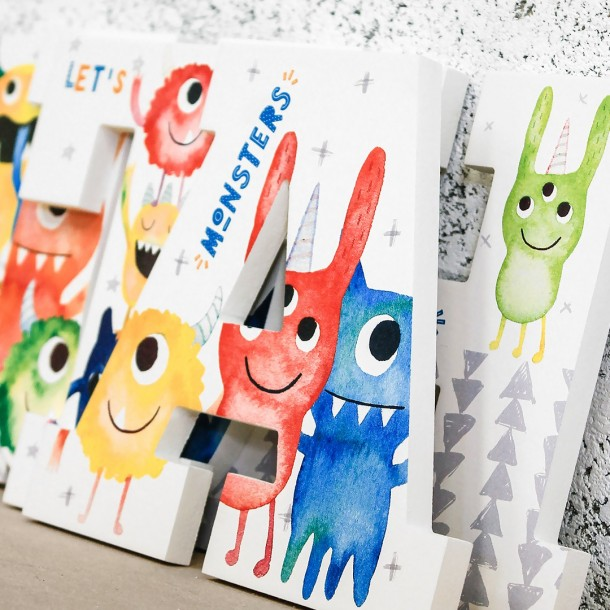watercolour little monster wall letters