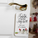 Santa Stop Here! Penguins Personalised Wooden Door Hanger