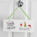 Santa Stop Here! Christmas Elf Hats Personalised Wooden Plaque