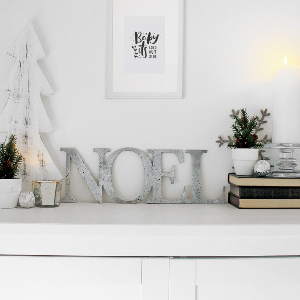Distressed Silver Joined NOEL letters