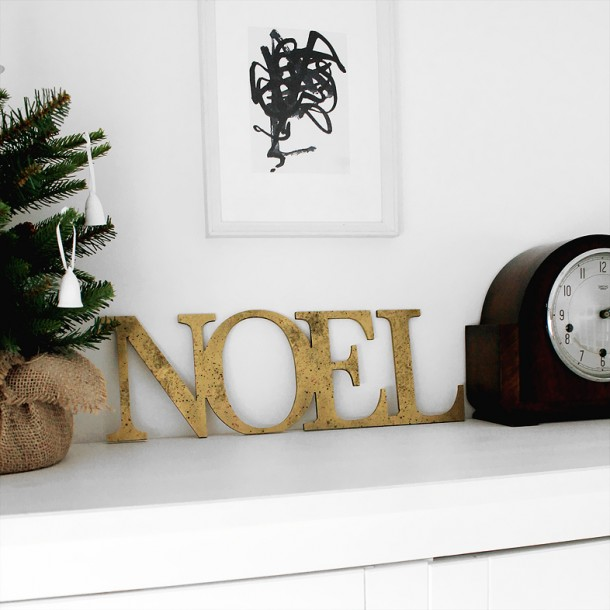 Distressed Gold Joined NOEL letters