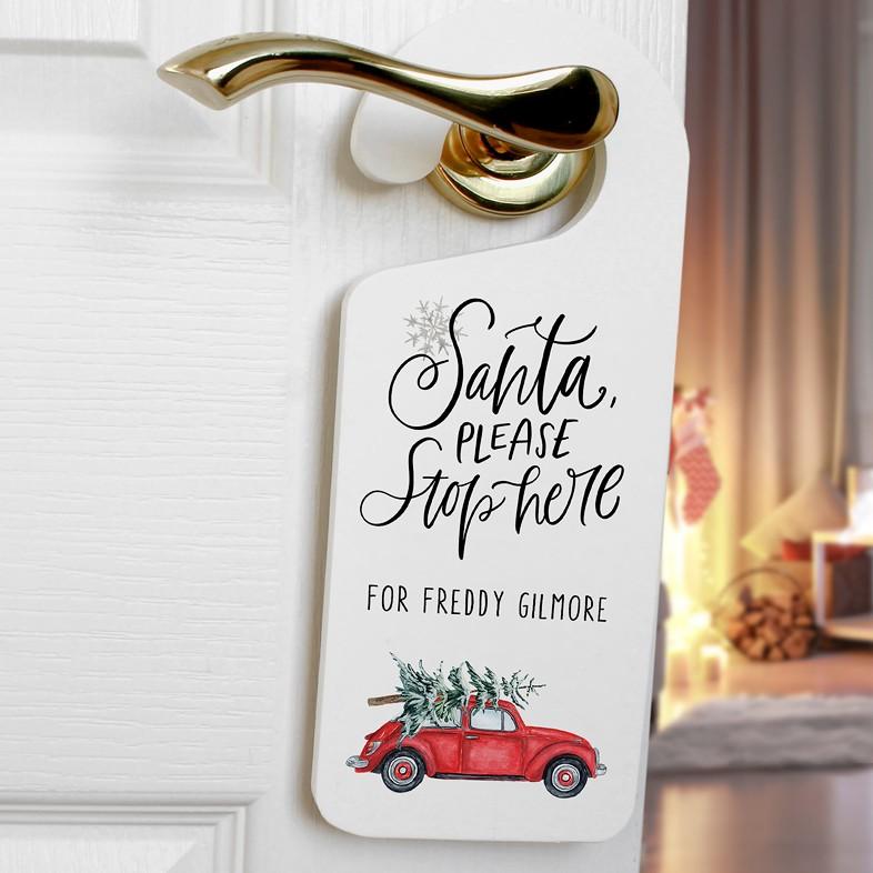 Santa Stop Christmas Car Amp Tree Personalised Wooden Door