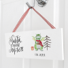 Santa Stop Here! Christmas Dragon Personalised Wooden Plaque