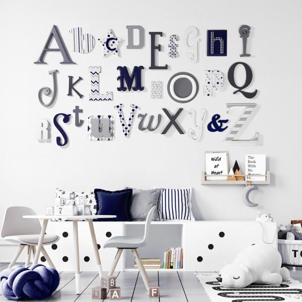 Grey & Navy Alphabet Wooden Wall Letters Full Set