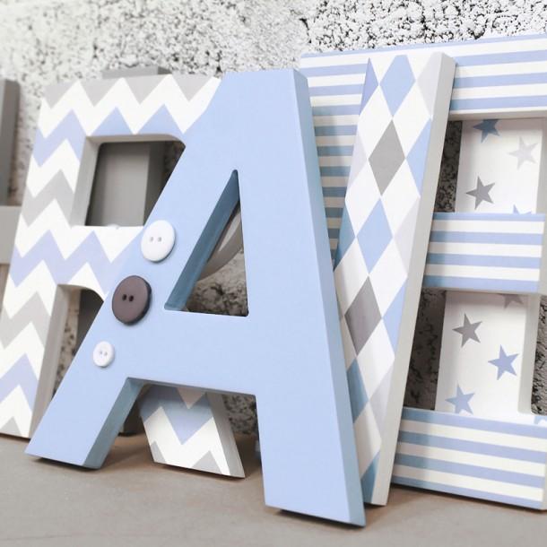 Blue + Grey Mix Letters